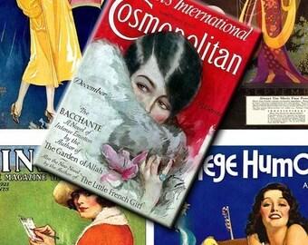 Digital Collage Sheet - Vintage Magazine Covers, Ads