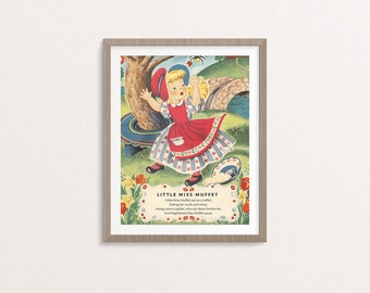 "Digital Little Miss Muffet Nursery rhyme poster / 8"" by 10"" / downloadable, printable / vintage Mother Goose digital print / wall art"