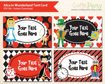Alice in Wonderland Editable Party Printable, Alice in Wonderland tent card, Alice in Wonderland food label, editable party label