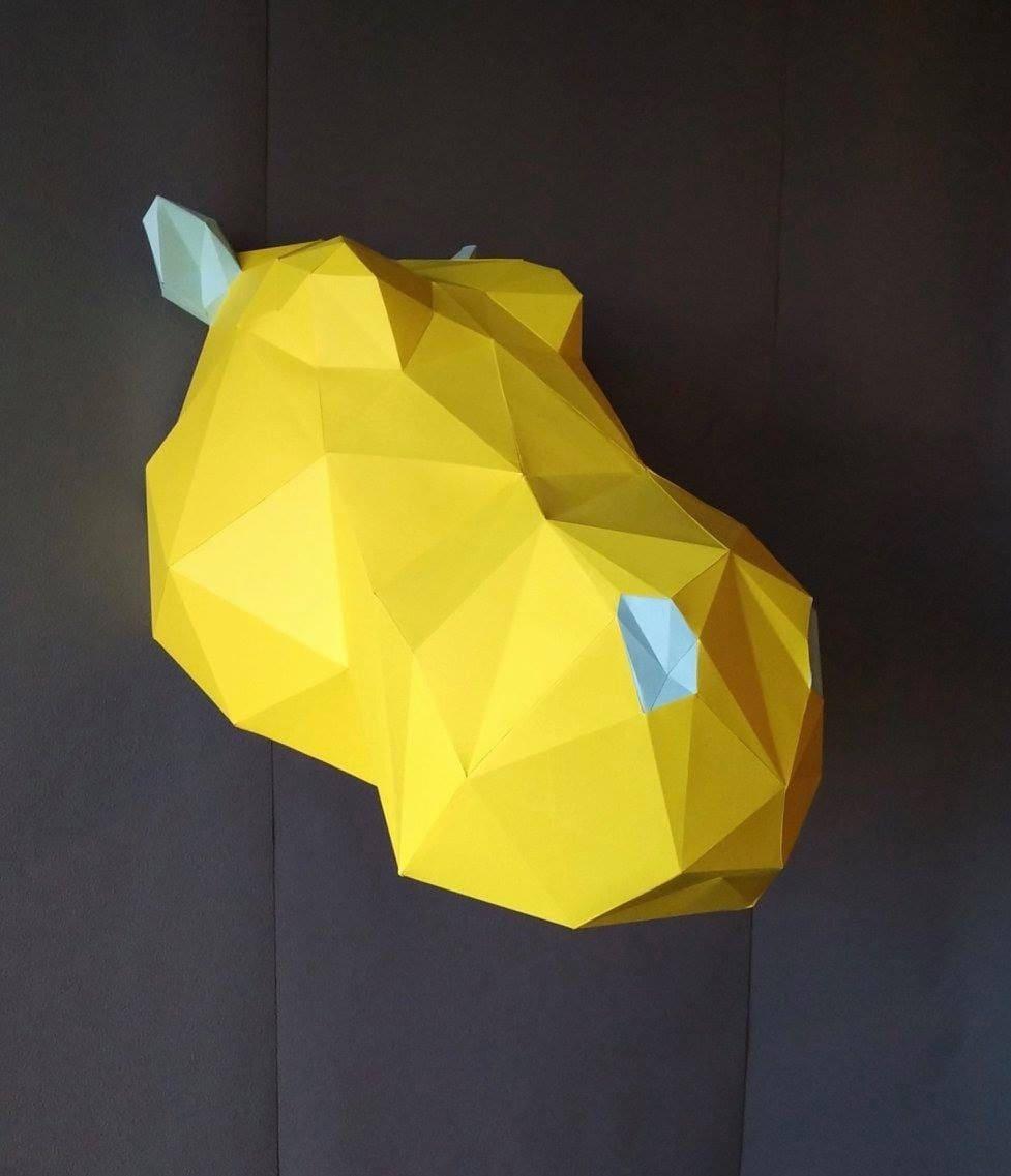 Medium Hippo DIY KIT/ Room Decor/ Paper Craft/ Wall Decor/ Paper ...