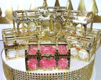 12 NEW Gold Treasure Chest Favors / Girls Little Princess Or Royal Princess  Baby Shower ...