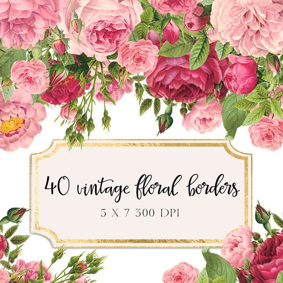 Wedding And Certificate Floral Border Border Clipart: Vintage Floral Borders Clipart Shabby Chic Clipart Flowers