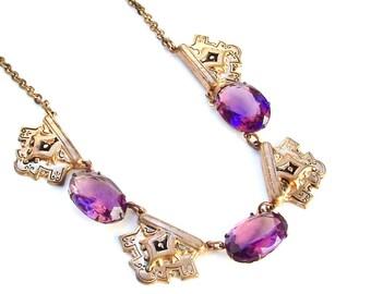 Amethyst Glas Halskette, Art-Deco-Halskette, viktorianische Halskette, Antikschmuck, lila Halskette
