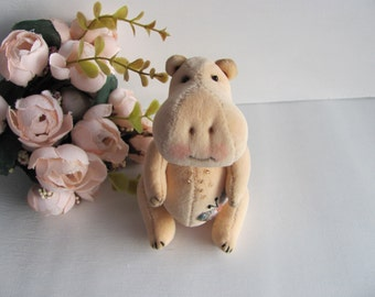 Hippo, hand made, author's toy, OOAK, artist toy, jointed, stuffed & plush animals, collectable jointed toy, unique