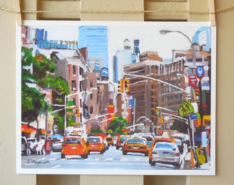Yellow New York Taxi Cabs, Traffic, Transportation Painting NYC Art NY Art  Cityscape with Taxis,  Art Print, Painting by Gwen Meyerson
