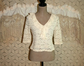 Lace Blouse Romantic Boho Top Cream Ivory Petite Small Women Shirt Ruffle Top Lace Top Womens Tops Womens Blouses Vintage Clothing