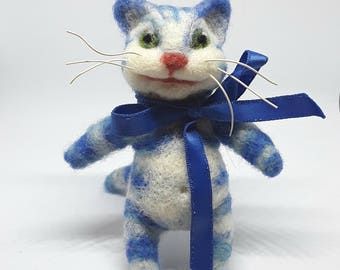 Needle felted cat, blue cat