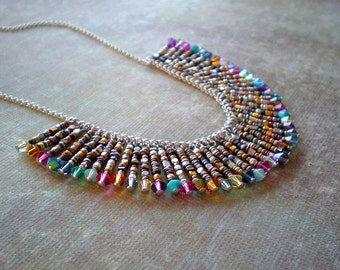 Mother of the Bride Colorful Choker - Unique Birthday Gift Wife -Chic Bib Necklace - Mix Crystal Beads - Kaleidoscope Fan Fringe Necklace