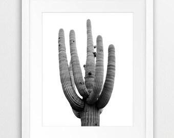 Cactus Print, Desert Tree Wall Art, Cactus Photography Black And White, Desert Saguaro Tree, Nature Print, Modern Wall Art, Printable Art