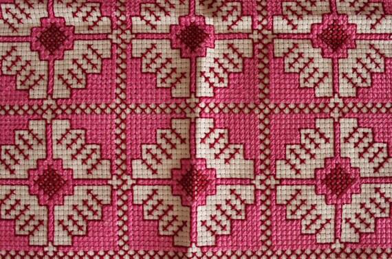 Square Cross Stitch Doilies, Cross Stitch Cushions, Pink Cross Stitch Runner