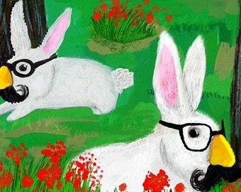 Secret Agent Rabbits have your back • 17x22 limited edition giclee art print • animal • humor • kids •bunnies • glasses • mustache • nursery