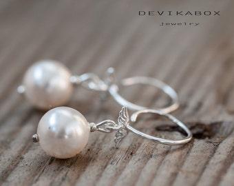 Pearl Wedding Earrings  for Bridesmaid Freshwater Pearl Bridal Earrings Swarovski Pearl Drop Earrings Wedding Bridal Jewelry