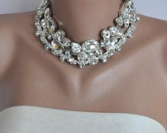 Bridal Rhinestone Choker, Statement Jewelry Bold Bridal Rhinestone Collar Necklace