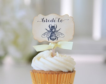 Wedding Cupcake Toppers, Bride to Bee, Bridal Shower, Bumble Bee theme, Vintage