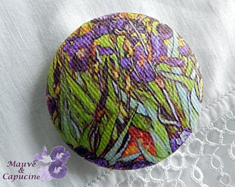 Fabric button, printed Van Gogh, 0.86 in / 22 mm