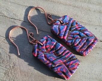 Embossed Dangle earrings - Women's earrings - Gift idea - Polymer Clay Earrings - Unusual earrings - Bead Jewelry - Dangle earrings