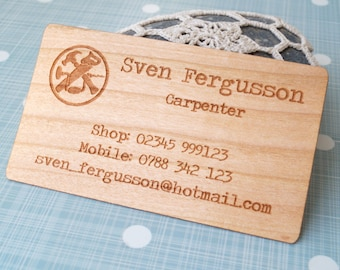 Engraved wood business cards 100 wooden business cards wood wooden veneer business cards business cards laser engraved business cards company logo business reheart Gallery