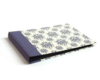 Heirloom Wedding Album blue on ivory Damask pattern