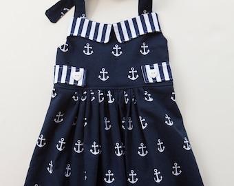 Anchor Top, Little Girl Tunic, Nautical Top, Sailor Top, Tunic, Halter Top, Toddler Clothes, Little Girl Top, Baby Girl Top