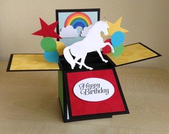 Handmade Card in a box unique Rainbow/unicorn themed birthday greeting card, box card/3D greeting card/ pop up card.
