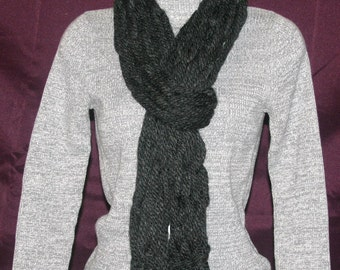 Charcoal Straight Chunky Scarf