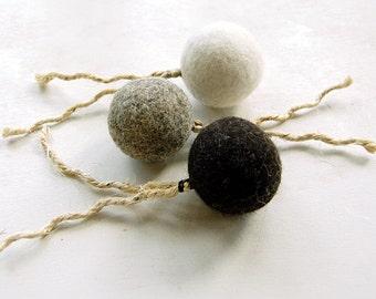 Felt organic catnip ball with tail Set of THREE - felt balls with sisal tails - cat toys