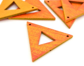 1 connector triangle graphic orange and yellow wooden 3.8 cm x 3.3 cm