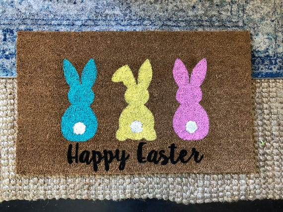 Bunny hop doormat outdoor welcome mat housewarming gift like this item negle Images