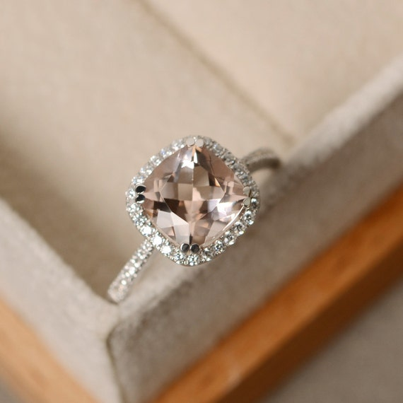 Connu Morganite engagement ring cushion cut pink morganite HA21