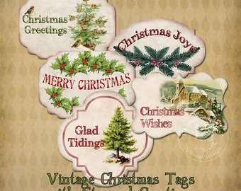 Vintage Christmas Tags with Stamped Greetings Instant Digital Download