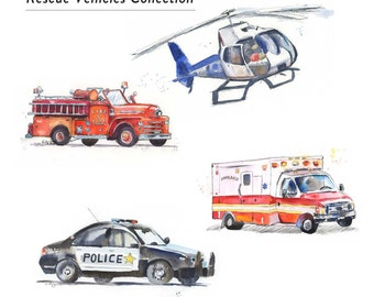 Rescue Vehicles Prints Set of 4- Fire Truck Print - Police Car Print - Helicopter Print - Ambulance Print - Children's Wall Art - Boys Room