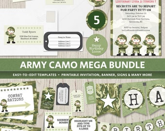 Army camo birthday party, theme party invitations supplies camouflage decorations, soldier military, banner boys DIGITAL printable templates