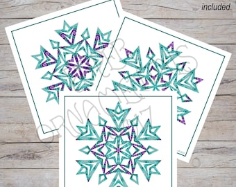 Snowflake Art Print, Holiday Decor, Christmas Art Print, Square Print, Winter Wall Art, Teal And Purple Geometric Snowflake, Snowflakes