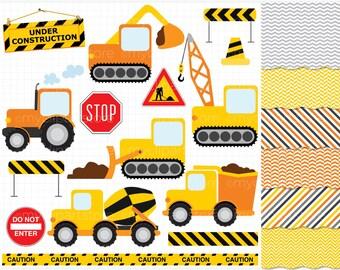 Clipart Combo - Transportation / Construction Vehicles - Vector Clipart / Instant Download