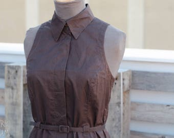 90's Brown Midi Dress - sleeveless dress with belt - button-up dress - Caractere Brand