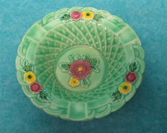 Homer Laughlin Harlequin Go-With Marutomo Basketweave Ashtray Light Green