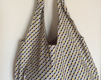 bag for classes, for shopping with handles and clips in a pretty cotton yellow, black