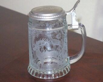 Vintage Stein, Etched BMF Glass Deer Stein,  Beer Mug, Made In W Germany,, Marked, Beer Stein, Bar Mug, 1990 - 1995