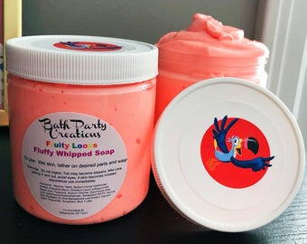 Fruity Loops Fluffy Whipped Soap 8 oz Container, Soap Frosting, Shaving Cream, Hand Soap, Gift for Her, Gift for Him, other scents available