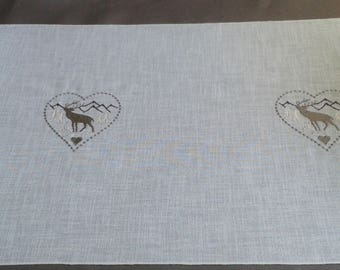 fabric for placemat table runner valance mountain cabin with heart and deer