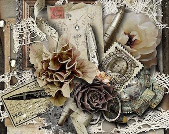 Scrapbook Kit, Digital Papers, Digital Scrapbooking, Shabby Papers, Printable Papers, Instant Download, Vintage Style, Scrapbook Elements