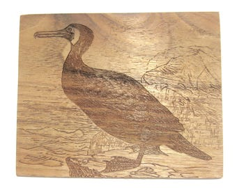 Wall decor Cormorant etched on butternut Old illustration wall art Bird lover's gift