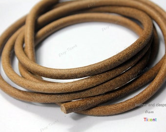 6mm Diameter Natural Tan Genuine Leather Cords, 6mm Round Real Cowhide Leather 1 Yard RLG6M-221