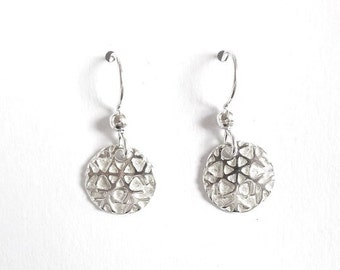 Small sterling snowflake earrings, winter jewelry, Christmas gift, holiday accessory, stocking stuffer,