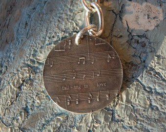 Customized Sterling Sheet Music Key Chain - You Name That Song