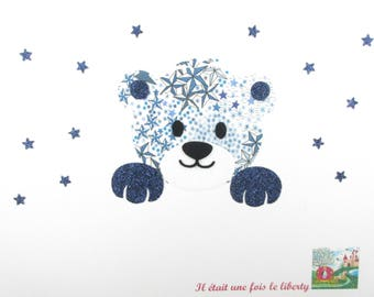 Applied fusible liberty bear head blue flex Adelajda glitter Thermo pattern liberty patch iron on patch teddy bear iron