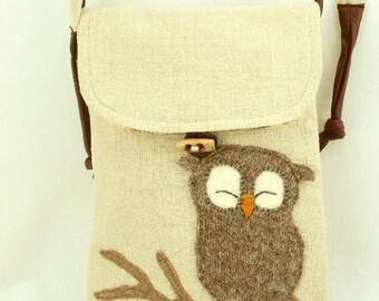 Owl Shoulder Bag Messenger Bag Linen in Light Yellow, Grey and Beige with Owl Applique and Adjustable Strap