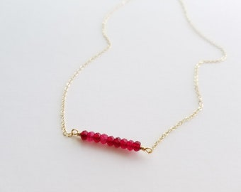 Red Natural Stone Bar Necklace / Dainty birthstone necklace 14k Gold Filled Simple Necklace / Sterling Silver Necklace / Mothers Day Gift