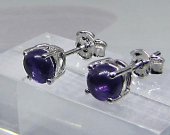 Purple stone cabochon studs / sterling silver Amethyst earrings / jackets for women