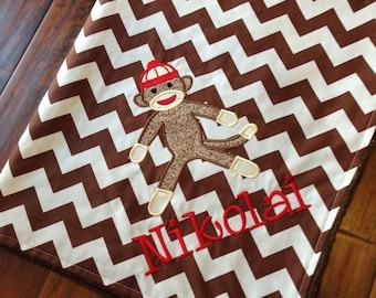 Personalized Baby Blanket-Sock Monkey Baby Blanket- Chevron Minky Blanket- Applique Baby Blanket- Custom Blanket-
